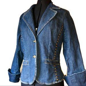 Denim 70's retro studded blazer with fold up cuffs